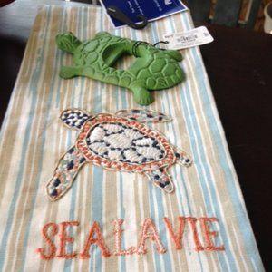 Pier 1 Turtle Bottle Opener & Decor Turtle Towel
